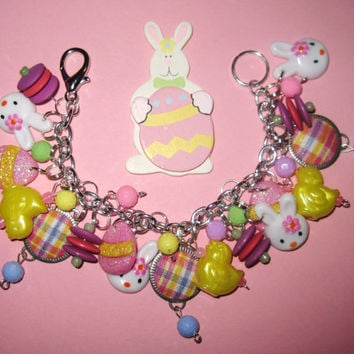 Easter Charm Bracelet Bunnies Chicks Eggs Charms Beads & by Jynxx