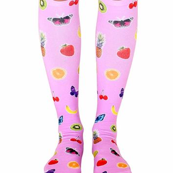 Fruits and Butterflies Knee High Socks