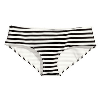 H&M - Bikini Bottoms - Black/White striped - Ladies