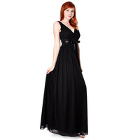 Evanese Chiffon Matte Jersey Long Formal Dress w/Rouched Empire Line