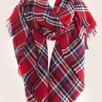 Red Fringe Plaid Blanket Scarf
