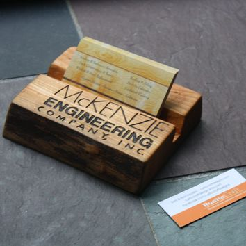 Personalized Business Card Holder - Rustic live edge wood - Unique office gift - Custom engraving included - $19.75 - Handmade Crafts by RusticCraft