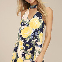 Part of Your World Navy Blue Floral Print Swing Dress