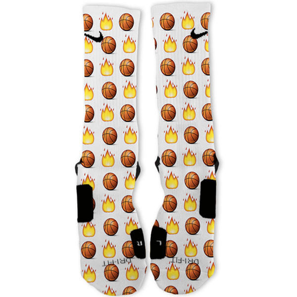 6a5ad9119 Basketball Emoji Custom Nike Elite Socks from freshelites