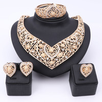New Exquisite Dubai Jewelry Set Luxury Gold Plated Crystal Big Necklace Nigerian Wedding Costume African Beads Jewelry Set