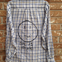 Unisex light weight Plaid flannel shirt painted with Come As You Are