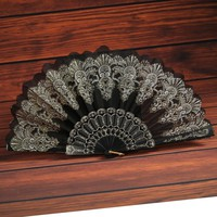 10 Colors Ethnic Flower Floral Fabric Lace Folding Hand Dancing Wedding Party Decor Fan