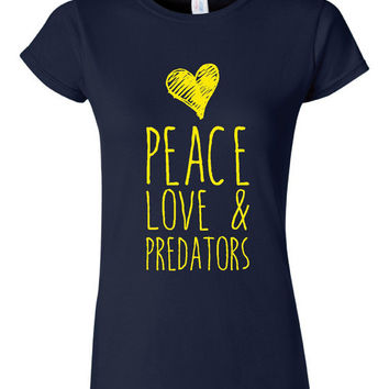 Peace Love And Predators T Shirt Playoff Hockey T Shirt Gift ideas Predators Playoff Shirts Unisex Womens Shirt Gift for Preds Fans