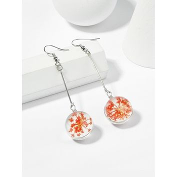 Dried Flowers Transparent Glass Crystal Ball Drop Earrings