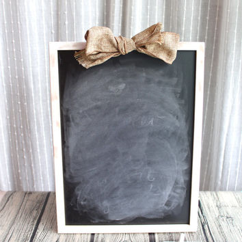 Chalkboard Sign with Burlap Bow - Wedding Sign, Seating Chart, Menu - Custom Colors