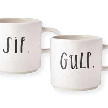 Rae Dunn Stem Print Sip & Gulp Mugs, Set of 2