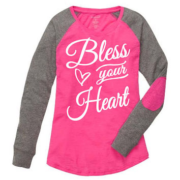 Bless Your Heart Shirt. Pink Preppy Patch Tee. Women Long sleeve shirt.