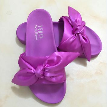PUMA fenty rihanna silk slides sneakers-spring-Bow Slide Sandals Shoes (10-color) Purp