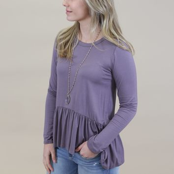 Dakota Crew Neck Ruffle Top, Purple
