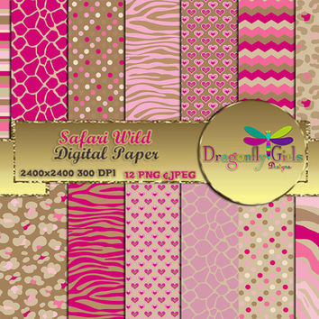 80% OFF Sale Safari Wild, Instant Download, digital paper, commercial use, scrapbook papers, background Zebra Leopard Animal Print Chevron
