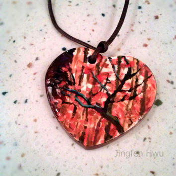autumn decor art necklace polymer clay pendant handpainted charm handmade ornament