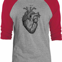 Big Texas Heart Anatomy 3/4-Sleeve Raglan Baseball T-Shirt