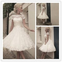 2015 New Bride Lace Embroidery Short Evening Dress A-line Off-the-shoulder Vintage Princess Prom Dress vintage short wedding dress Plus Size Formal Dress 192474511