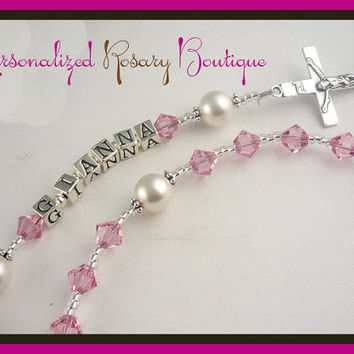 Christening Baptism Rosary First Communion Personalized Pink, Confirmation Religious Gift