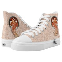 Vintage Retro Floral Art Nouveau Dancing Girl High-Top Sneakers