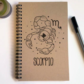Writing journal, spiral notebook, cute diary, small sketchbook, scrapbook, memory book, 5x8 journal - Scorpio, zodiac sign, astrology