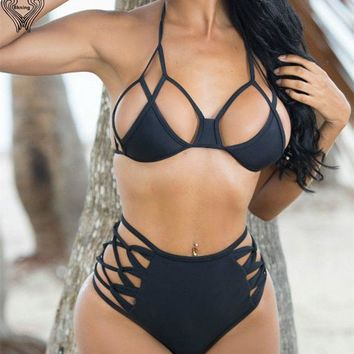 Bikini Swim Suit Black swimwear High Cut bikini Lace Up Bottom swimsuit bathing suit pin up