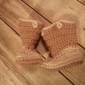 Cow boy/girl booties brown and tan ~ traditional ~ neutral