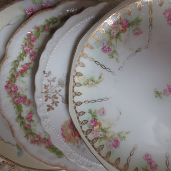 Set of 4 Victorian Mismatched Shabby Chic Vintage Small Plates, Dessert Plates.  Bridal Shower, Tea Party, Wedding Decor.