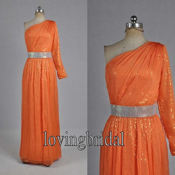 Long Orange Sequins Chiffon Evening Dress Bridesmaid Dress Prom Dress Wedding Party Dresses Bridesmaid Gown Bridesmaid Dress 2013