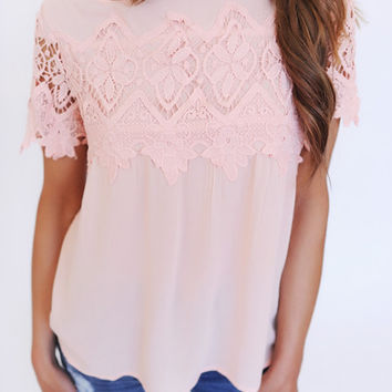 Peach Crochet Detail Top