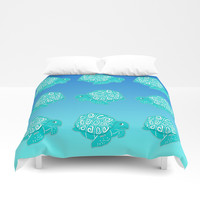 Teal Sea Turtles Blue & Aqua Pattern Duvet Cover by Artist Abigail