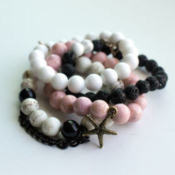 Molli - Bracelet Set: pink river stone, white magnesite, onyx, lava rock, white jade, brass, sea star