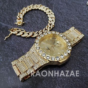 Raonhazae Hip Hop Iced Lab Diamond Meek Mill Drake 14K Gold Plated Watch with 12mm Cuban Link Bracelet Set