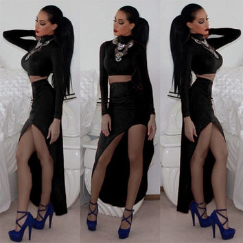 Stylish Lady Women's Casual High Collar Long Sleeve Crop Top And Irregular Slim Skirt Set