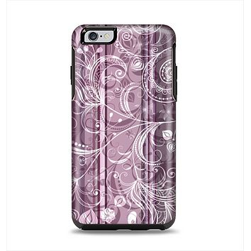 The Purple and Gray Stripes with Overlapping Floral Apple iPhone 6 Plus Otterbox Symmetry Case Skin Set