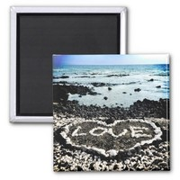 "Hawaii black sand beach & coral ""love"" heart photo magnet"