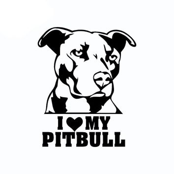 I LOVE MY PITBULL Vinyl Decal