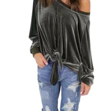 Women's Army Green Velvet Off the Shoulder Long Sleeve Blouse with Front Tie