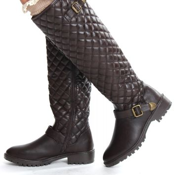 Quilted Knee High Boots Brown
