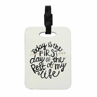 "Pom Graphic Design ""Today Is The First Day"" Black Gold Typography Illustration Decorative Luggage Tag"