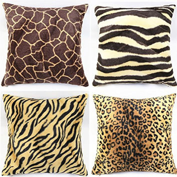 "WOMHOPE® 4 Pack - 18"" x 18"" Short Faux Fur Cushion Decorative Pillow Covers Animal Theme Print Style Square Throw Pillowcase Cushion Covers for Sofa,Bed,Chair,Auto Seat (F(Set of 4))"