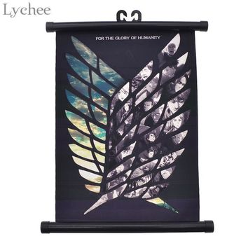 Cool Attack on Titan Lychee Japanese Anime  Wings of Liberty Canvas Scroll Painting Home Wall Print Modern Art Decor Poster AT_90_11