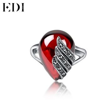 EDI 925 Sterling Silver Rings Luxury Natural Red Garnet Ring Women Vintage Party Thai Silver Ring Fine Jewelry Bijoux Gift women