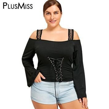 PlusMiss Plus Size 5XL Sexy Cold Shoulder Lace Up Tunic Gothic Tops Tees Women Flare Sleeve Punk Rock T Shirts Big Size T-shirt