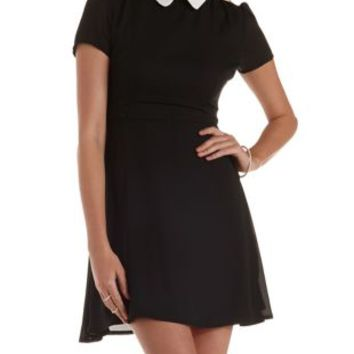 Black Peter Pan Collar Skater Dress by Charlotte Russe
