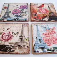 """Wooden coasters, Eiffel Tower, Coasters for drinks, Vintage coasters, Pads drink kitchen, Square wooden, 4 """"х 4"""" , Drink Coasters, Set of 4"""