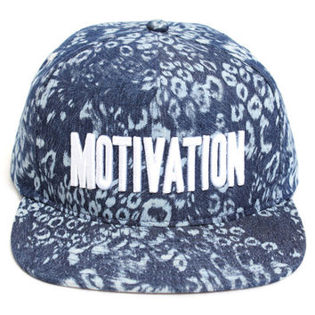 Block Text Snapback Hat Leopard Chambray