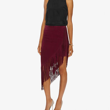 Exclusive for Intermix Goat Suede Underlay Fringe Skirt | Shop IntermixOnline.com