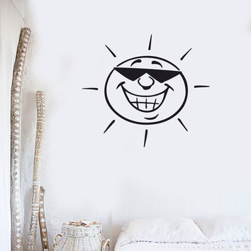 Wall Vinyl Sticker Decal Funny Sun in Sunglasses Summer Beach House Decor (z129)