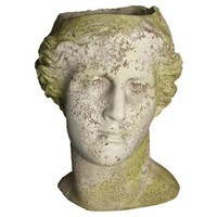 "14"" Venus Head Planter, White Moss"